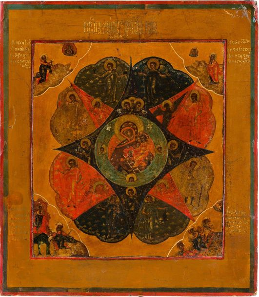 AN ICON SHOWING THE MOTHER OF GOD 'OF THE BURNING BUSH' Russian, late 19th centu…