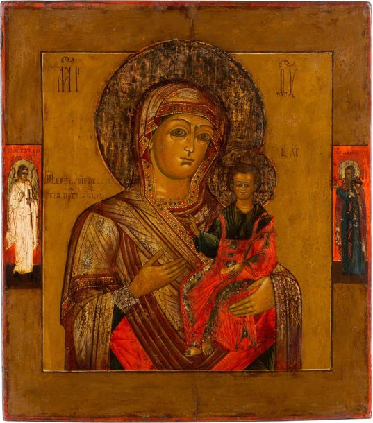AN ICON SHOWING THE SMOLENSKAYA MOTHER OF GOD Russian, 19th century Tempera on w…