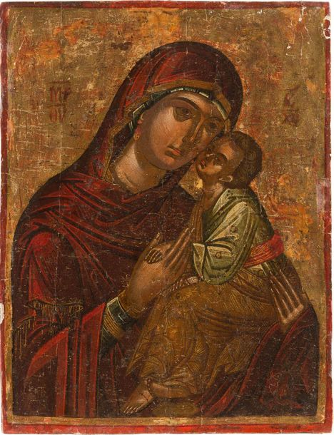 AN ICON SHOWING THE MOTHER OF GOD OF THE PASSION Greek, Cretan, 16th century Tem…