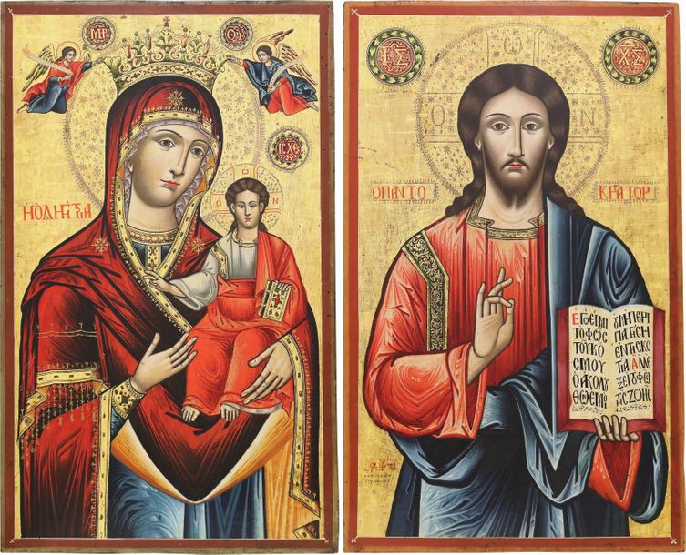 A MONUMENTAL DATED PAIR OF ICONS SHOWING THE MOTHER OF GOD HODIGITRIA AND CHRIST…