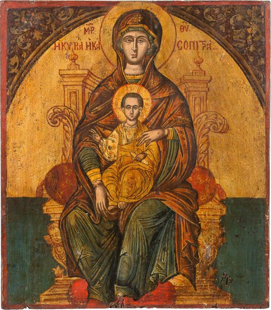 A LARGE ICON SHOWING THE ENTHRONED MOTHER OF GOD Greek, circa 1700 Tempera on wo…