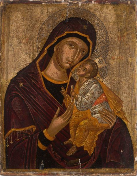 A VERY FINE ICON SHOWING THE SWEET KISSING MOTHER OF GOD (GLYKOPHILOUSA) Greek, …