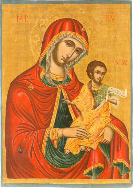 A LARGE ICON SHOWING THE MOTHER OF GOD AND CHRIST Greek, Cretan, circa 1730 Temp…