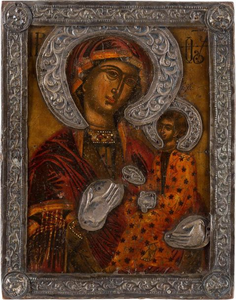 AN ICON SHOWING THE HODIGITRIA MOTHER OF GOD WITH BASMA Greek, 17th century Temp…