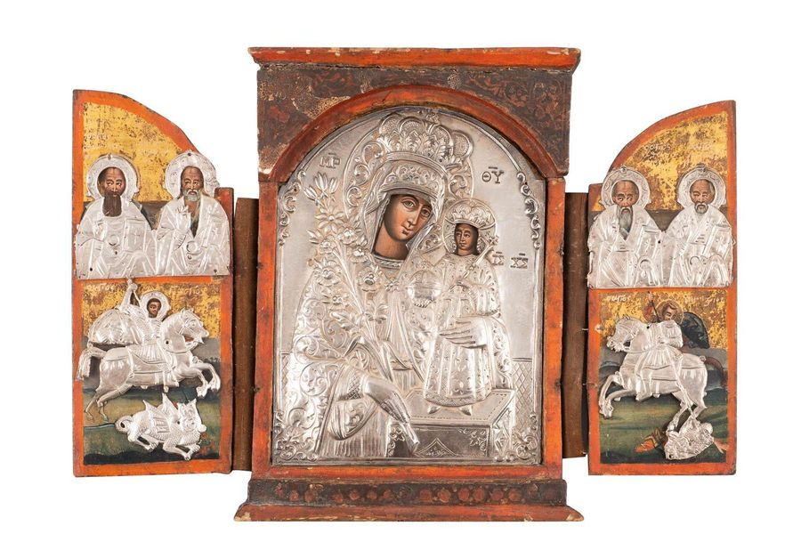 A TRIPTYCH SHOWING THE MOTHER OF GOD 'THE UNFADING ROSE'' WITH SELECTED SAINTS A…