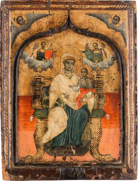 A LARGE ICON SHOWING THE ENTHRONED MOTHER OF GOD Northern Greek, 18th century Te…