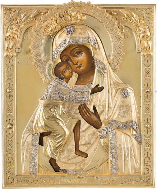 THE FEODOROVASKAYA MOTHER OF GOD WITH A SILVER GILT AND FILIGREE OKLAD Russian, …