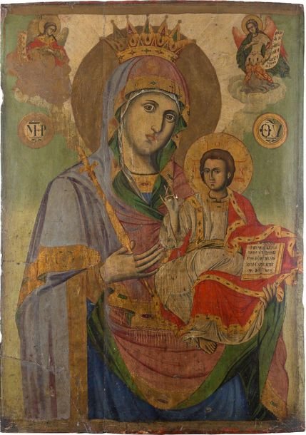 A MONUMENTAL ICON SHOWING THE HODIGITRIA MOTHER OF GOD Balkan, 18th century Oil …
