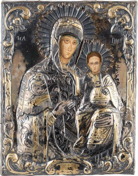 AN ICON SHOWING THE HODIGITRIA MOTHER OF GOD WITH A SILVER OKLAD Romanian, 20th …
