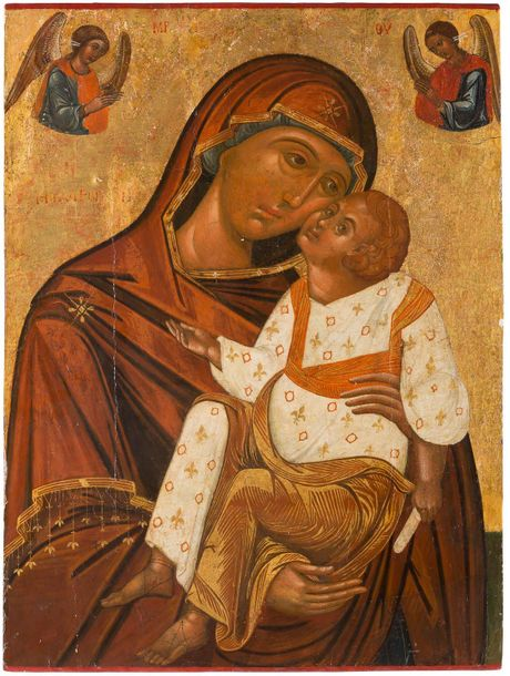 A MONUMENTAL ICON SHOWING THE SWEET KISSING MOTHER OF GOD (GLYKOPHILOUSA) Greek,…