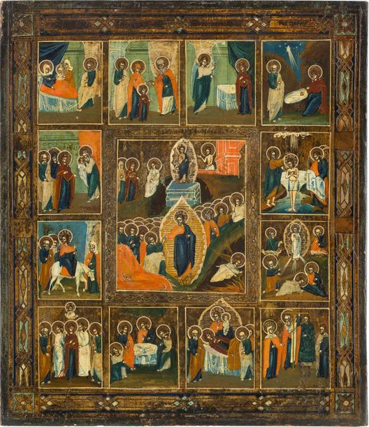 A FEAST DAY ICON Russian, late 19th century Tempera on wood panel. The backgroun…