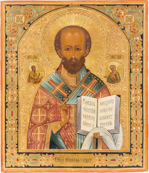 AN ICON SHOWING ST. NICHOLAS THE MIRACLE WORKER Russian, circa 1870 Tempera on w…
