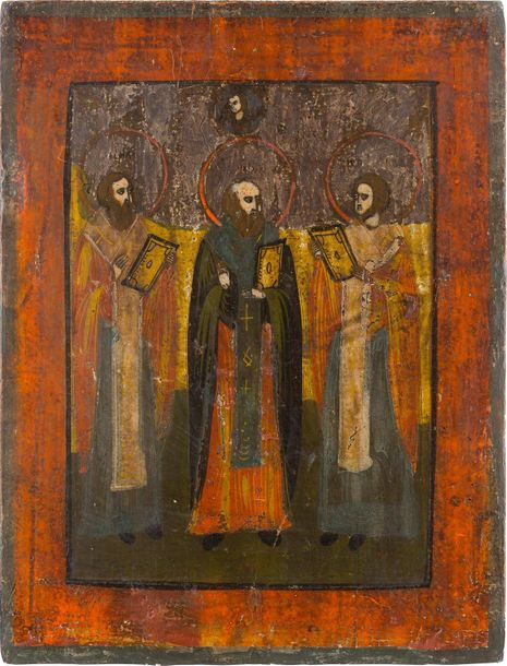AN ICON SHOWING THE THREE HIERARCHS OF ORTHODOXY Russian, 19th century Tempera o…
