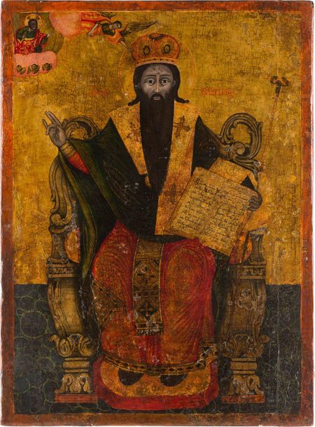 A MONUMENTAL ICON SHOWING ST. BASIL THE GREAT Greek, early 19th century Oil on w…