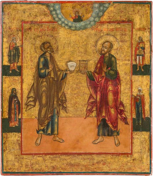 AN ICON SHOWING ST. PETER AND PAUL THE APOSTLES Russian, 19th century Tempera on…