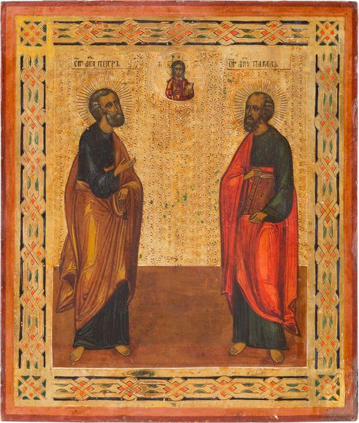 AN ICON SHOWING THE APOSTLES PETER AND PAUL Russian, late 19th century Tempera o…