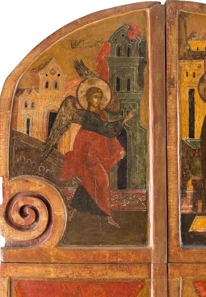 A RARE AND IMPORTANT ROYAL DOOR FROM AN ICONOSTASIS Russian, 2nd half 16th centu…