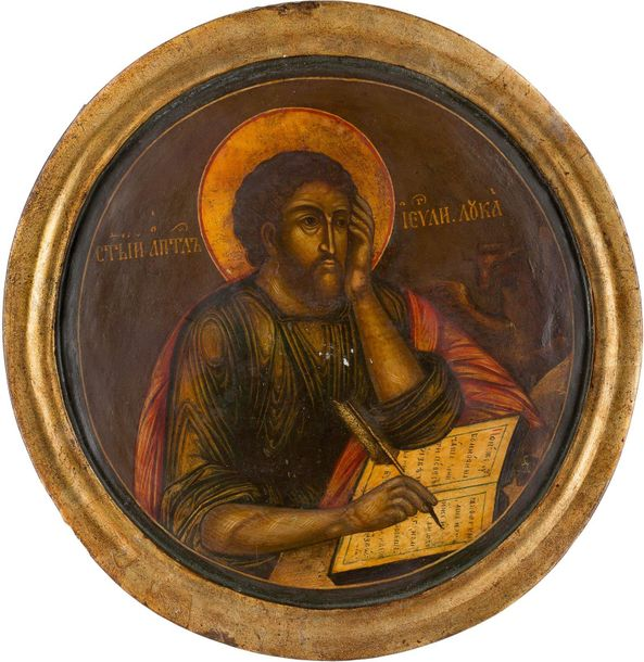 AN ICON SHOWING ST. LUKE THE EVANGELIST Russian, 18th century Tempera on wood pa…