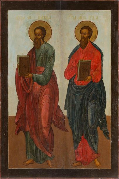 A MONUMENTAL ICON SHOWING TWO EVANGELISTS FROM A CHURCH ICONOSTASIS Russian, 18t…