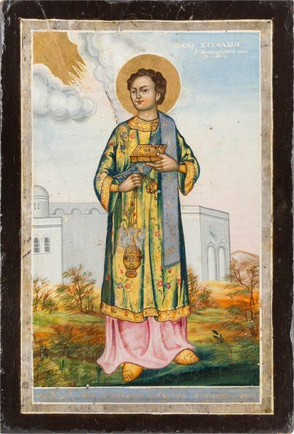 A DATED ICON SHOWING THE PROTOMARTYR ST. STEPHEN Greek, dated 1857 Oil on wood p…