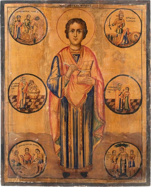 A MONUMENTAL ICON SHOWING ST. PANTELEIMON WITH SCENES FROM HIS LIFE Jerusalem, 1…