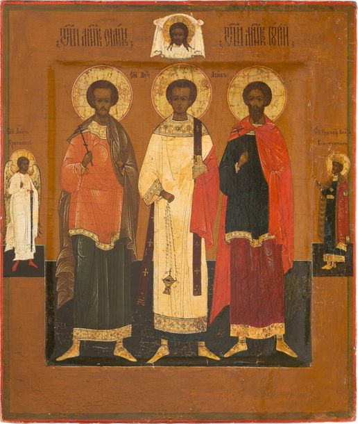 AN ICON SHOWING STS. SAMON, GURIY AND AVIV Russian, late 19th century Tempera on…