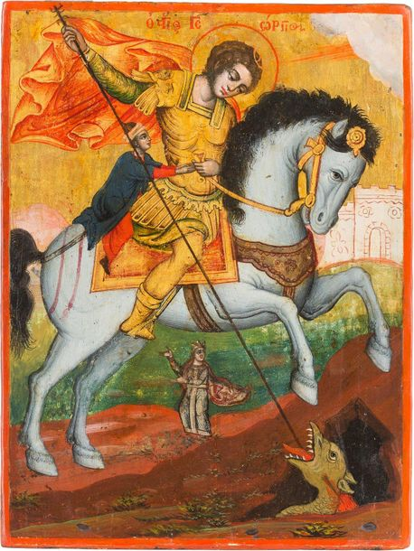 AN ICON SHOWING ST. GEORGE KILLING THE DRAGON Greek, circa 1700 Tempera on wood …