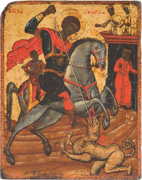 AN ICON SHOWING ST. GEORGE KILLING THE DRAGON Greek, 17th century Tempera on woo…
