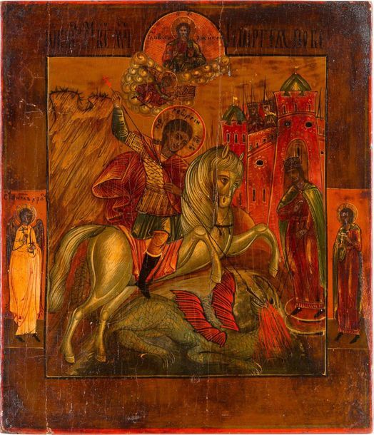 AN ICON SHOWING ST. GEORGE KILLING THE DRAGON Russian, 19th century Tempera on w…