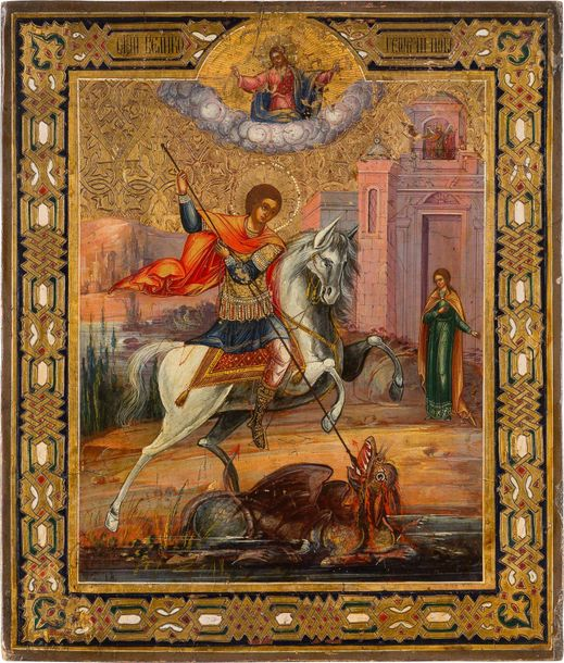 AN ICON SHOWING ST. GEORGE KILLING THE DRAGON Russian, circa 1880 Oil on wood pa…