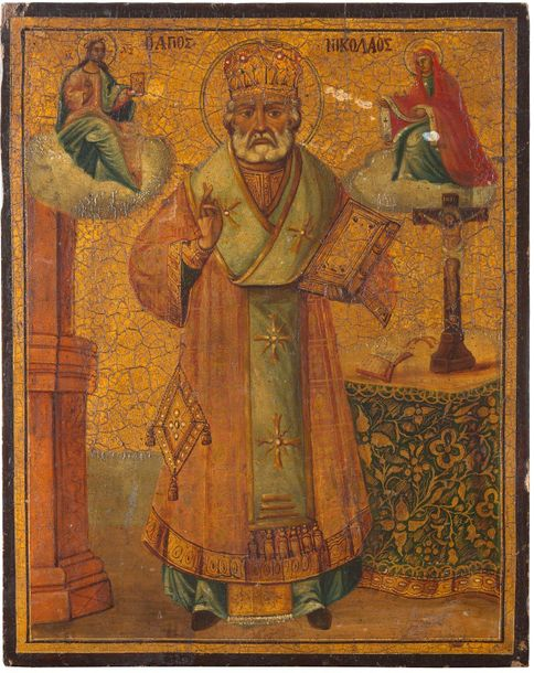 AN ICON SHOWING ST. NICHOLAS OF MYRA Balkan, 19th century Oil on wood panel. Exe…