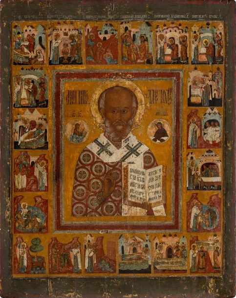 A MONUMENTAL ICON OF ST. NICHOLAS OF MYRA WITH 20 SCENES FROM HIS LIFE North Rus…