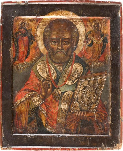 AN ICON SHOWING ST. NICHOLAS THE MIRACLE WORKER Russian, circa 1700 Tempera on w…