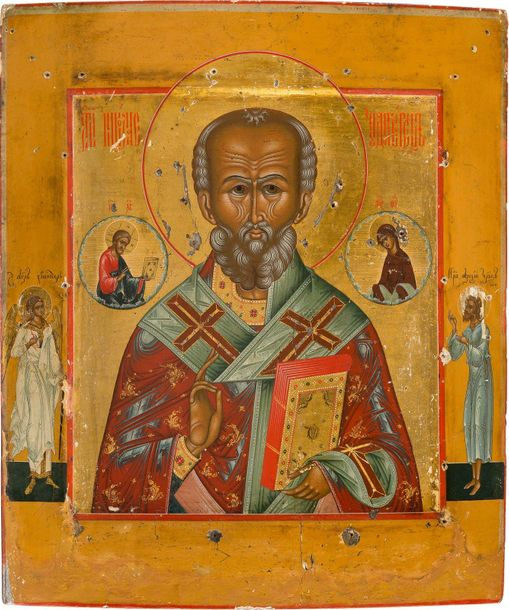 A FINE ICON SHOWING ST. NICHOLAS OF MYRA Russian, Palekh, 19th century Tempera o…