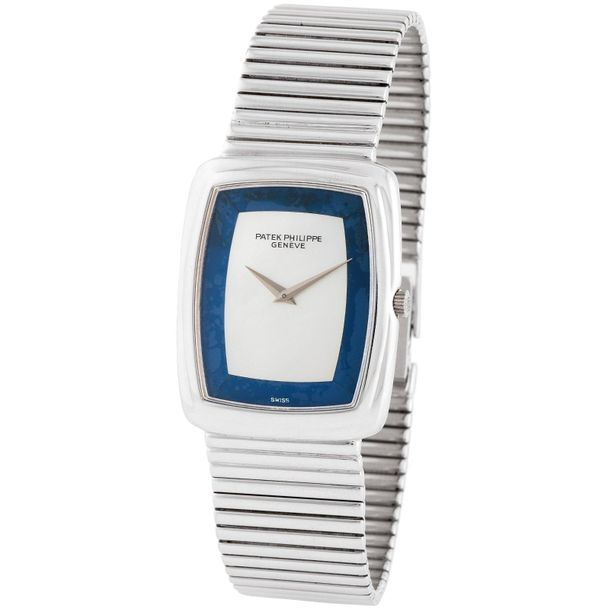 Patek Philippe. Tasteful and Sophisticated Rectangular Shape Wristwatch in White…