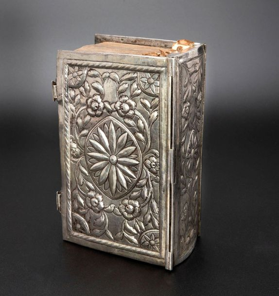 A Dutch 18th Century Solid Silver Bookbinding and Fitted Bible with Targum Onkel…