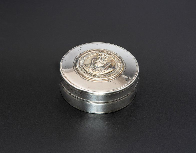 A Round Silver and Parcel Gilt Snuff Box with a Medalion, Presburg, Early 18th C…