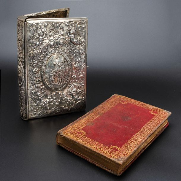 """A Solid Silver 18th century Bookbinding Fitted with """"Heures Presentées A Madame …"""