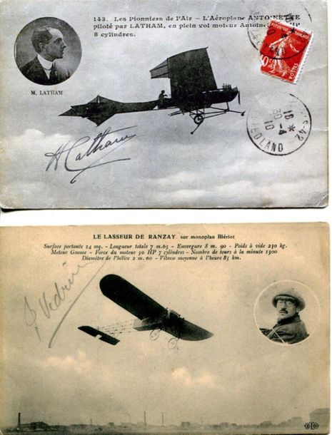VEDRINES JULES & LATHAM HUBERT: Two attractive signed postcard photographs by Fr…