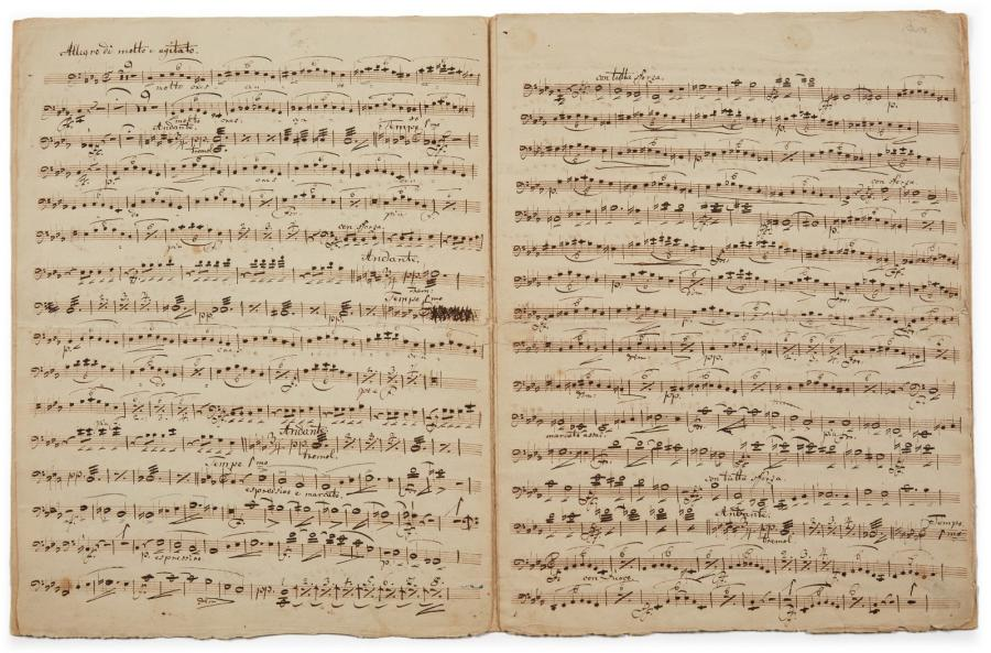 WAGNER RICHARD (1813-1883) MANUSCRIT MUSICAL autographe, Violoncello. Columbus, [1835];…