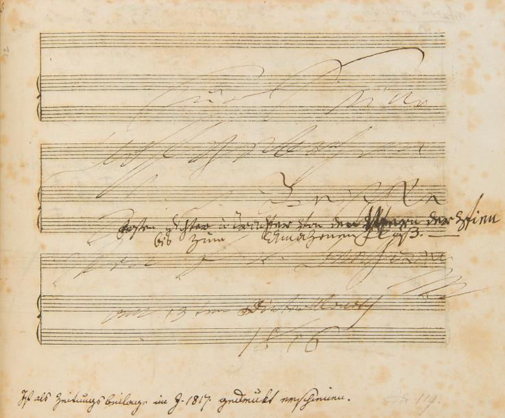 BEETHOVEN Ludwig van (1770-1827). MANUSCRIT MUSICAL autographe signé, Ruf vom Berge…