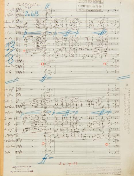 MESSIAEN Olivier (1908-1992). MANUSCRIT MUSICAL autographe signé, L'Ascension, quatre…