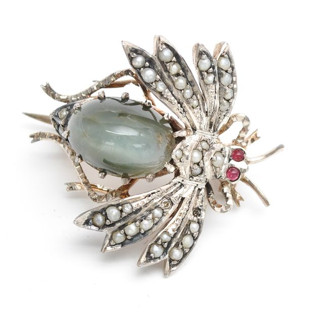 A 19th Century Brooch Depicting Insect Set with seed pearls, 27 mm. Long.