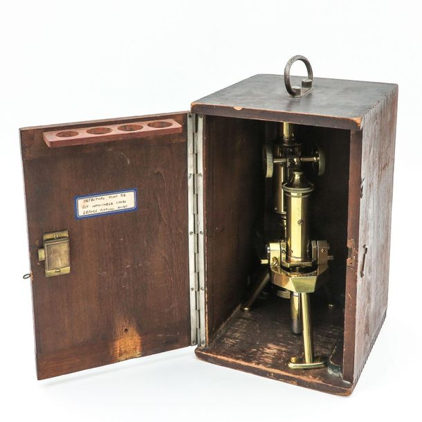 A Brass Microscope In wooden box