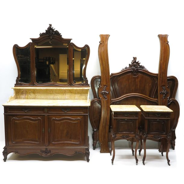 A 19th Century Mahogany Louis XV Style Bedroom Set Including bed, pair of night …