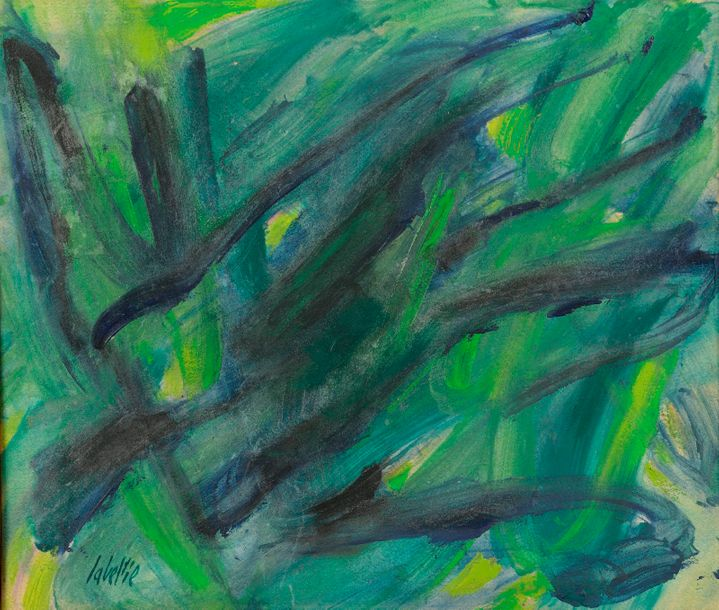 Jean LABELLIE (né au Rouget, Cantal, 1920). Abstraction en vert. Huile sur papier…