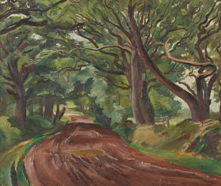 Maurice-Georges PONCELET (1897 - 1978). Chemin forestier. Huile sur toile signée…
