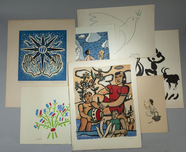 Important lot de lithographies, reproductions et affiches dont : - Pablo PICASSO.…