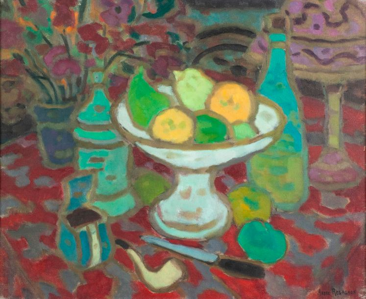 André REGAGNON (1902-1976). Nature morte à la coupe de fruits et à la pipe. Huile…