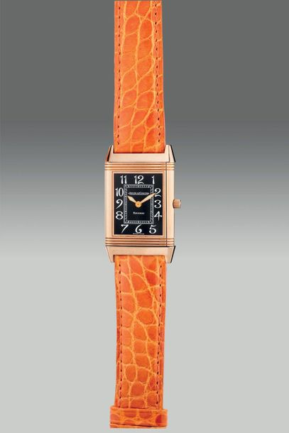 Jaeger LeCoultre A fine and attractive pink gold rectangular shaped reversible w…